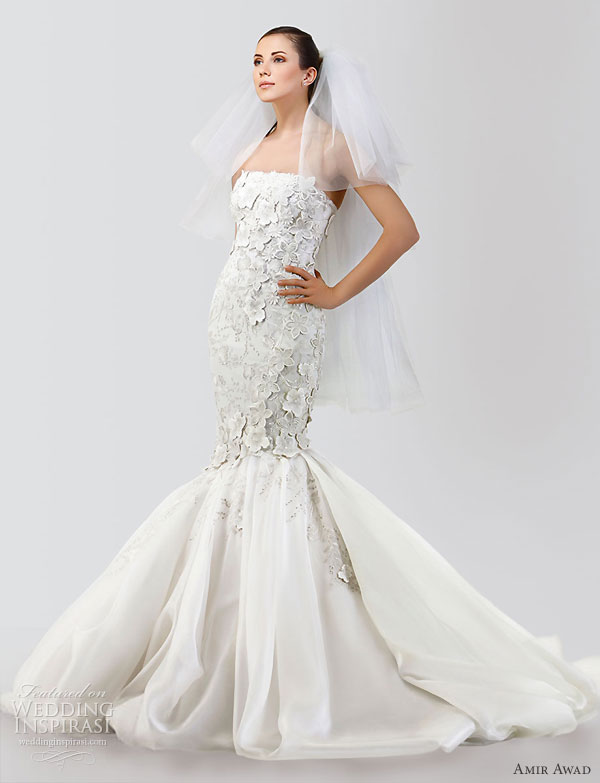 Amir Awad 2010 bridal gown collection - strapless mermaid wedding  dress, fitted bodice with floral applique