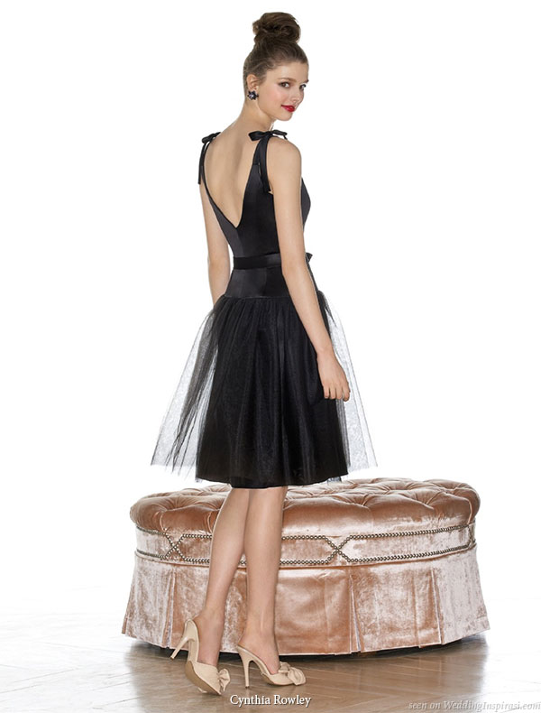 Black short bridesmaid dress with ribbon straps by Cynthia Rowley  available at Dessy Group