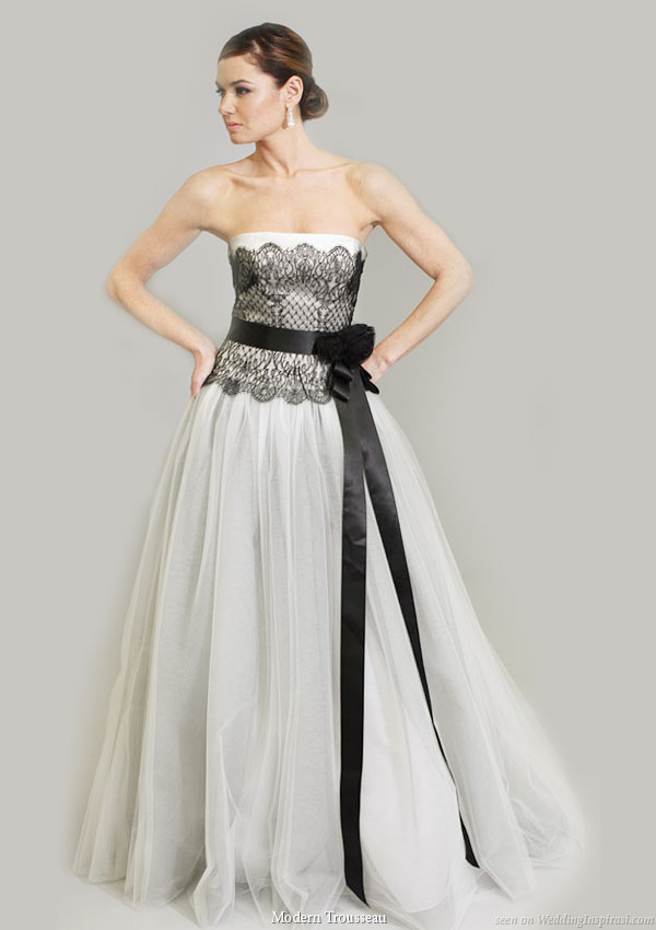 black and white wedding dress reply