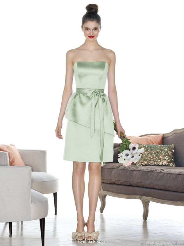 Pale green (other color options available) short bridesmaid dress  with ribbon straps by Cynthia Rowley available at Dessy Group