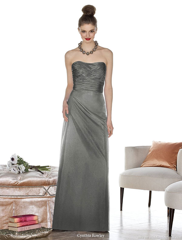 Cynthia Rowley designer bridesmaid dresses - strapless ruched long  gown available at Dessy Group