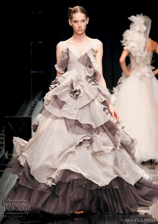 Carlo Pignatelli 2010 Opere couture bridal gown collection - white wedding dress alternative, rose and earth tones