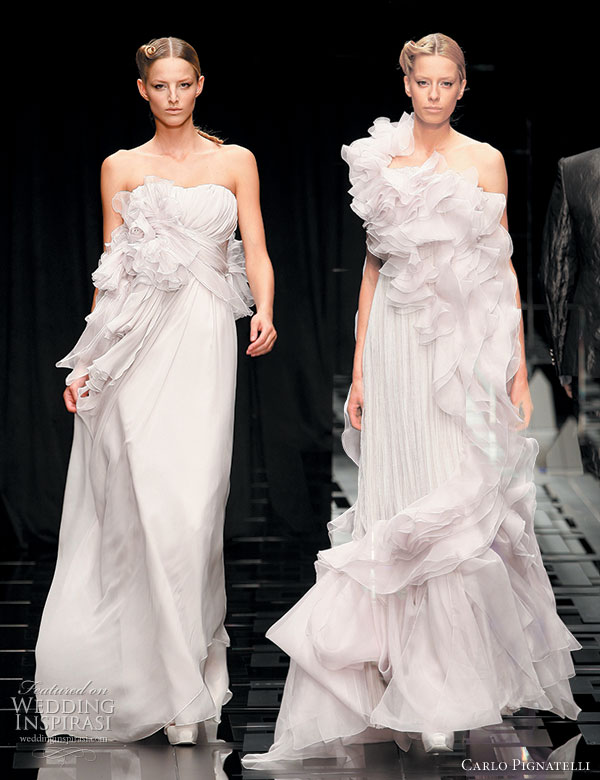 Romantic ruffle wedding dresses carlo Pignatelli 2010 Opere couture