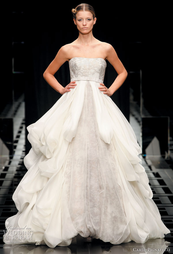 Romantic ruffle wedding dress ideas -- Carlo Pignatelli 2010 Opere couture bridal gown collection
