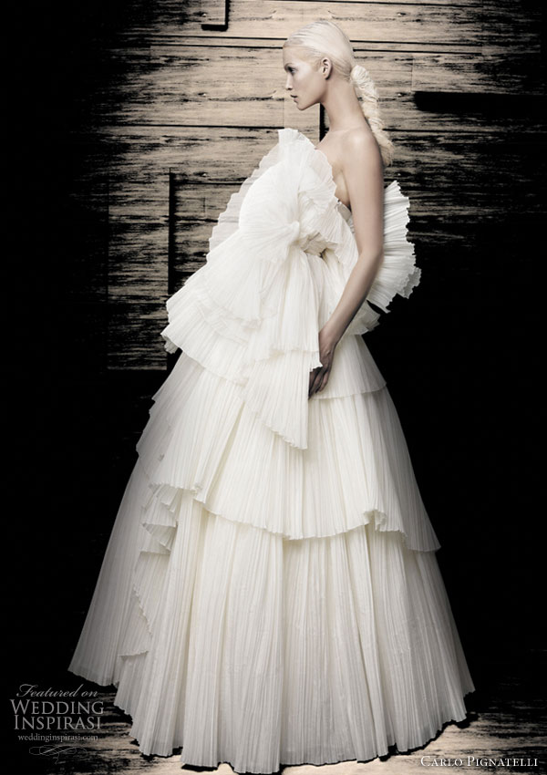 Carlo Pignatelli 2010 Opere couture bridal gown collection -  strapless white ruffle wedding dress