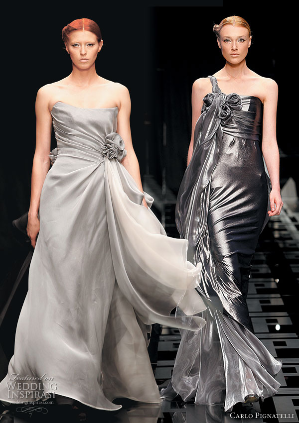 Carlo Pignatelli 2010 Opere collection models on the runway in wedding gowns and evening dresses in gray, black and silver tones