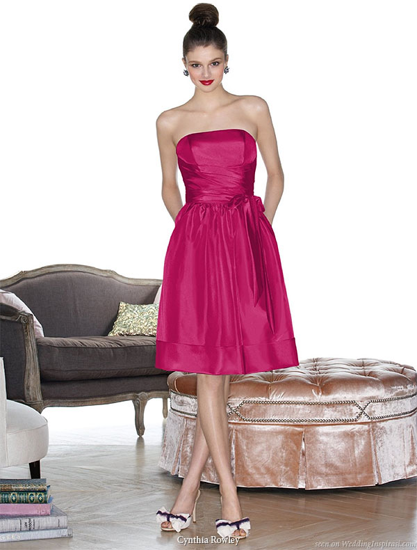 Cynthia Rowley bridesmaid collection 2010 - short strapless gown   in pink, plum, purple and other colors at Dessy Group
