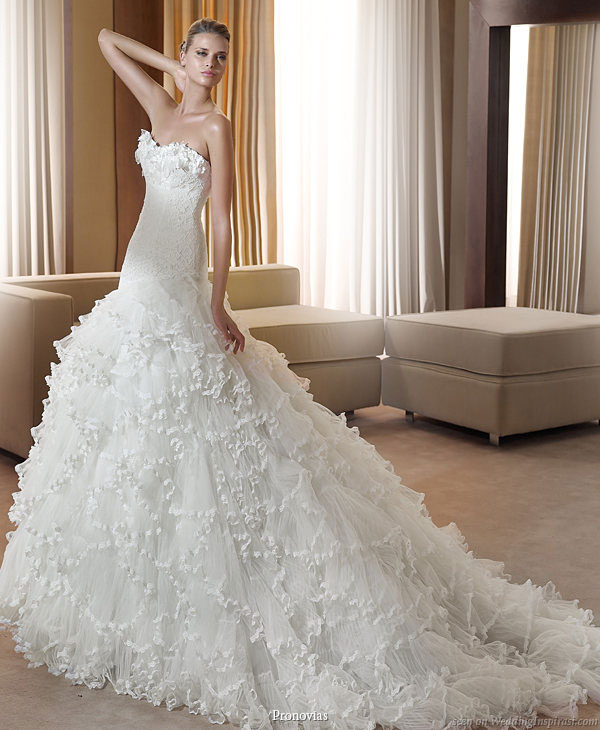 Pronovias 2011 Bridal Gown Collection - Fanstastica strapless  wedding dress with ruffle skirt