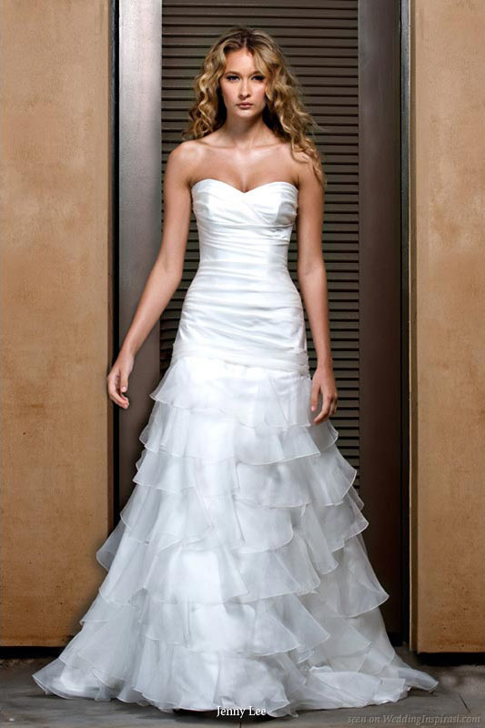 Silk satin strapless wedding dress sweetheart neckline and ruched trumpet with ruffled organza skirt from Jenny Lee 2011 bridal gown collection