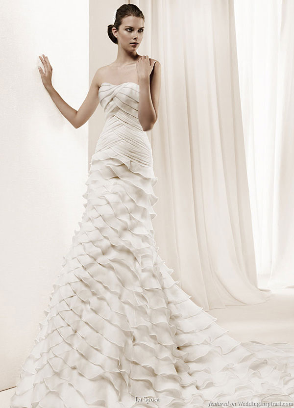 La Sposa 2011 Bridal Gown Collection Dante tiers of ruffle wedding dress