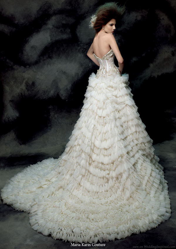 Maria Karin Couture 2011 bridal gown collection - strapless   wedding dress with dramatic ruffle skirt