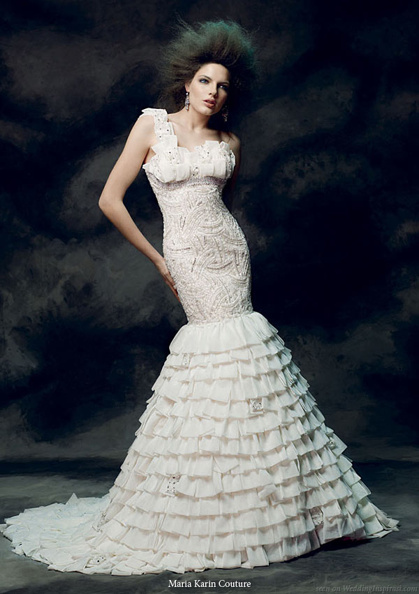 Maria Karin Couture 2011 bridal gown collection - one shoulder   wedding dress with mermaid silhouette with dramatic ruffle skirt