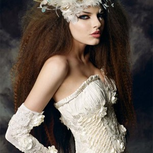 Maria Karin Couture 2011 bridal gown collection - strapless wedding dress, bride wearing a feather fascinator