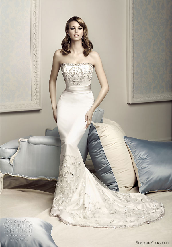 Simone Carvalli bridal gown collection strapless mermaid wedding dress
