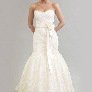 Modern trousseau 2011 bridal gown collection, Monroe wedding dress - strapless fitted and flare with sash