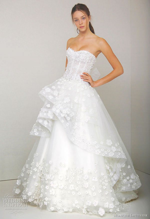 Monique lhuillier spring 2011 wedding dresses wedding for Flower embroidered wedding dress