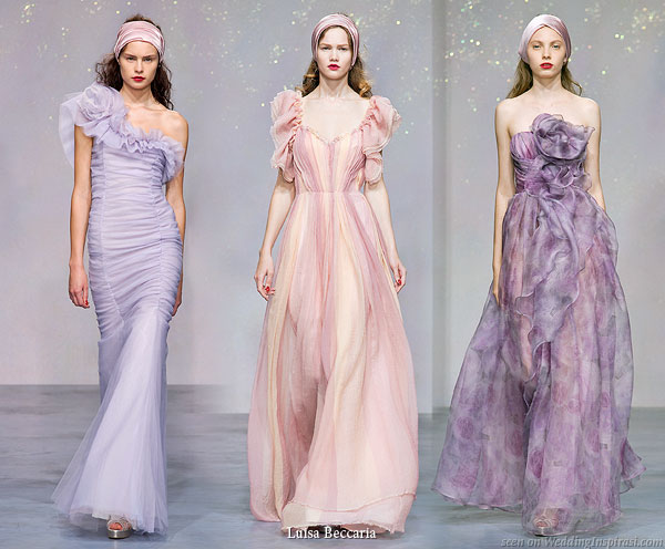 Long dresses from Luisa Beccaria Spring/Summer 2010 collection - Lilac tulle one shoulder long gown, chiffon pink with sleeves, purple Pierre de ronsard rose print organza strapless