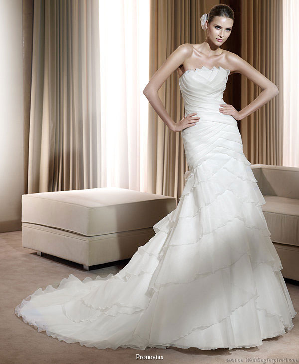 Pronovias 2011 Bridal Gown Collection - Fortuna wedding dress with multiple layers of zig zag flounces and ruffles