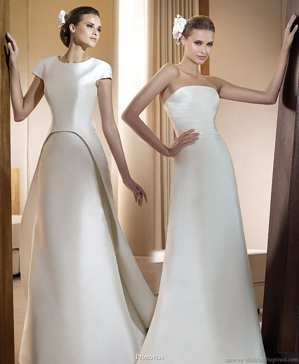 Pronovias 2011 Bridal Gown Collection - Impacto convertible wedding dress or 2 in 1 style gown, wear strapless or with short sleeve overshirt