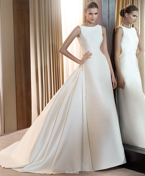 Pronovias 2011 Bridal Gown Collection - Icaro smart wedding dress with bateau neck and train