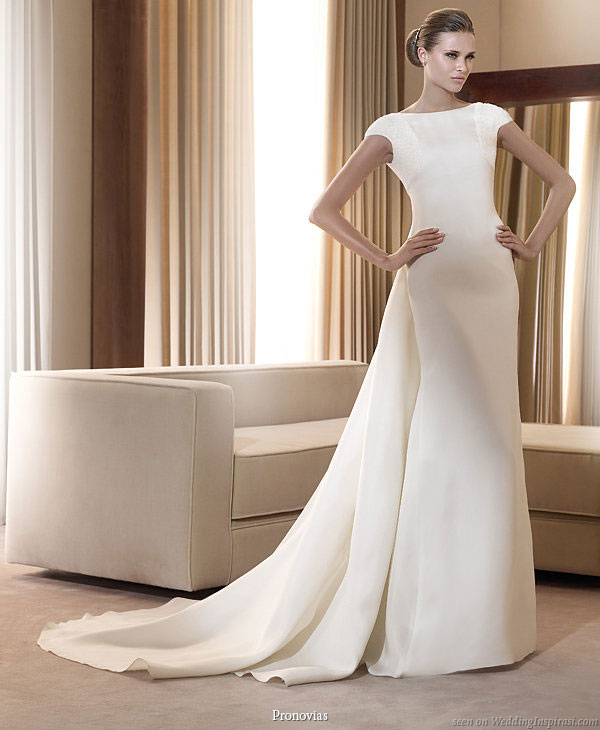 Pronovias 2011 Bridal Gown Collection Italico smart wedding dress with cap