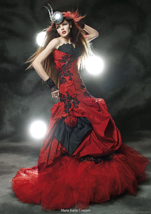 bridal gown collection black and red strapless wedding dress with