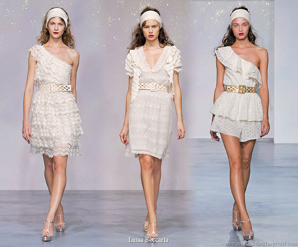 Short lace white or ivory dresses worn with belt Ivory tutina cotton
