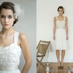 "Beautiful short wedding dress with thick straps by Elizabeth Dye ""Heroines"" 2010 bridal collection on the English Dept"