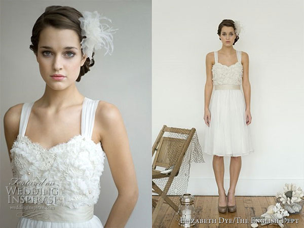 Beautiful short wedding dress with thick straps by Elizabeth Dye Heroines