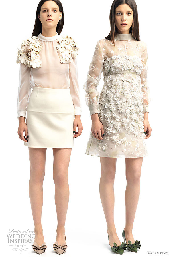 Valentino 2011 Resort collection - short white dresses with floral  appliques, suitable for a wedding