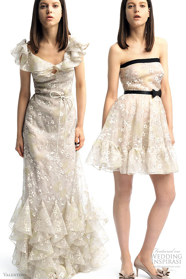 Valentino 2011 Resort collection - wedding worthy dressses- frilly strap gown and short flirty dress both with bow at the waist