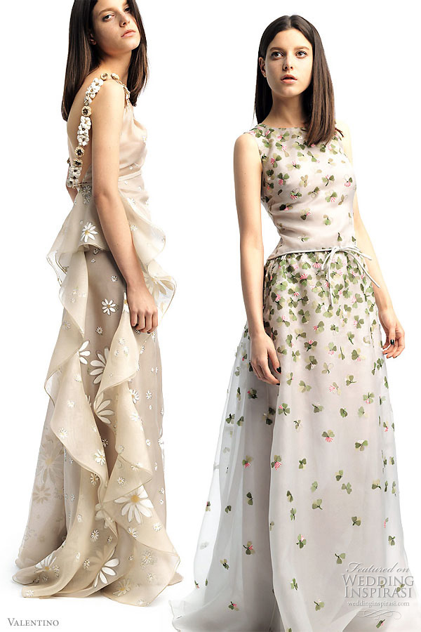 Valentino 2011 Resort collection - wedding worthy dressses-  gowns with flounce, flowers, four leaf clovers