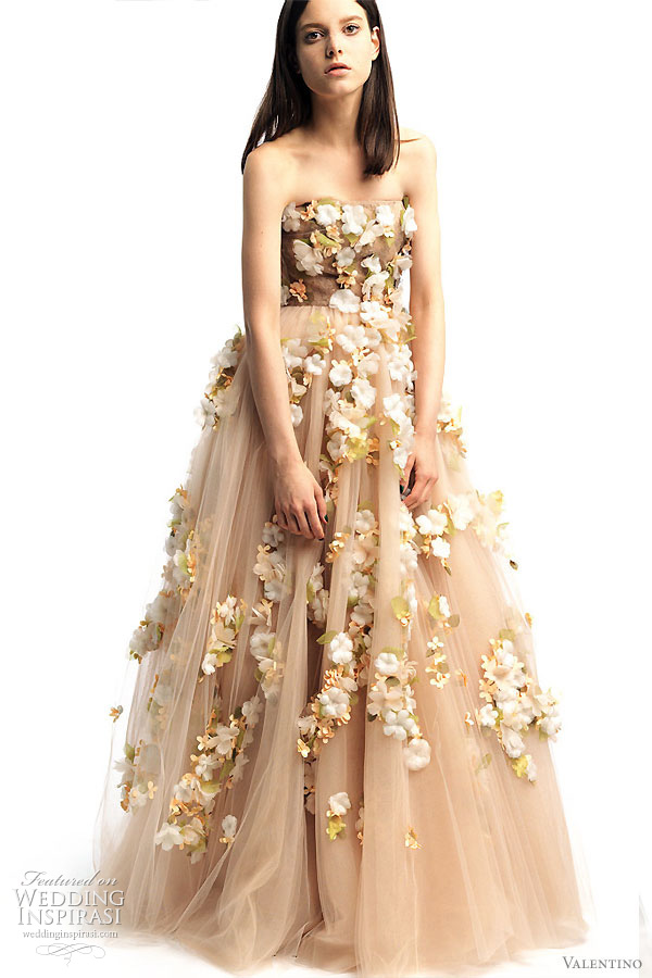 Valentino 2011 Resort collection - wedding worthy dressses - strapless gown with flowers