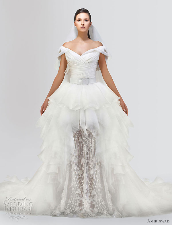 Amir Awad 2010 bridal gown collection - dramatic off shoulder  wedding dress with asymmetric skirt