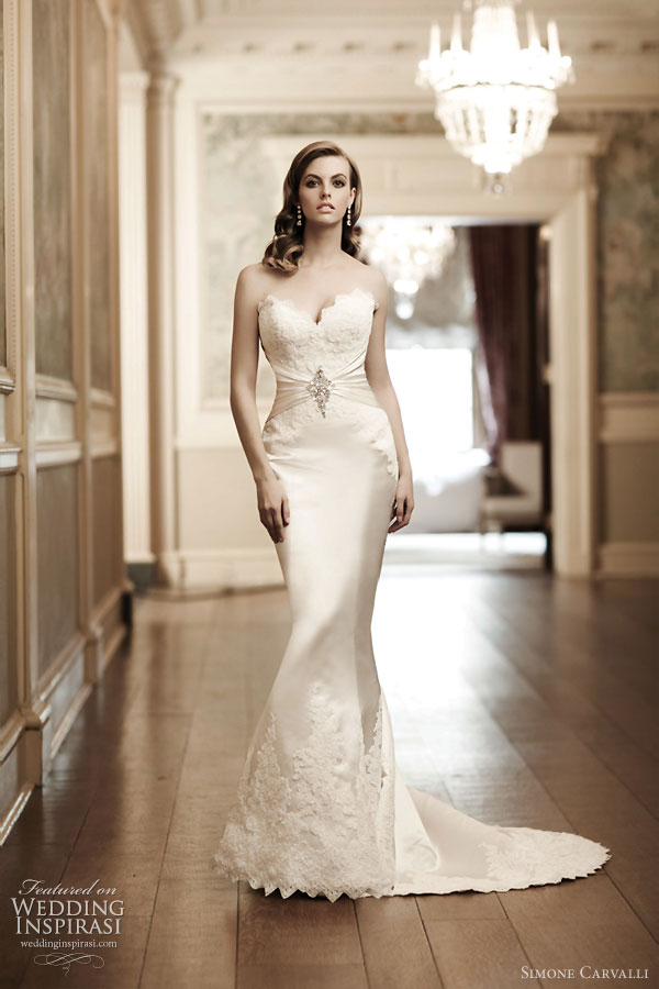 Simone carvalli wedding dresses wedding inspirasi for Satin mermaid style wedding dresses