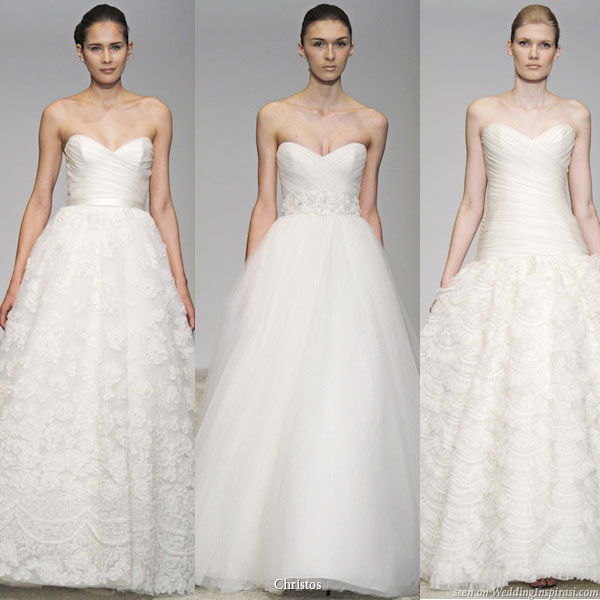 Christos Spring Summer 2011 bridal gown collection - Primrose, Magnolia, Yasmine strapless wedding dresses