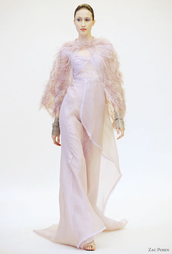 Zac Posen 2011 resort collection - pastel pink, lilac or lavender dress  with feather cape, Anna Cleveland model