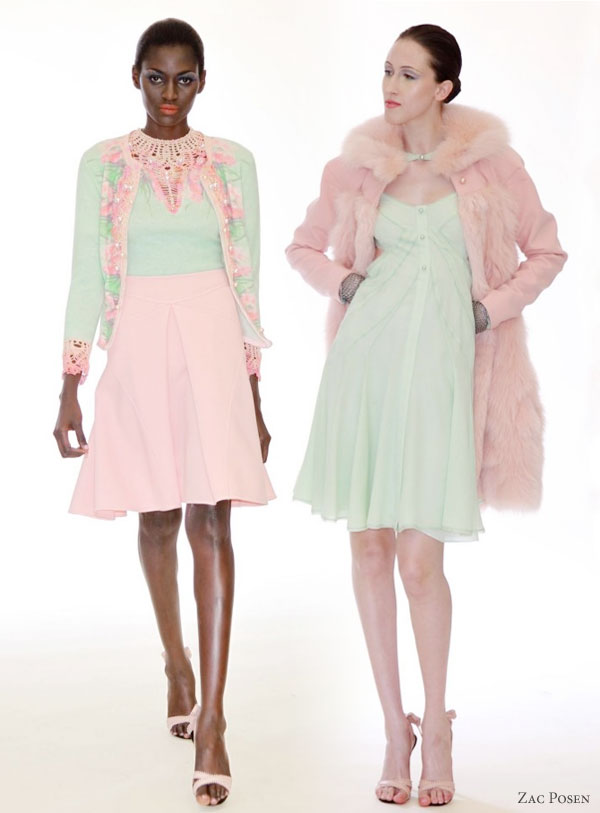 Zac Posen Resort 2011 collection :  short dresses in pretty pastels -- cotton candy pink, celadon, mint green, dusty rose,
