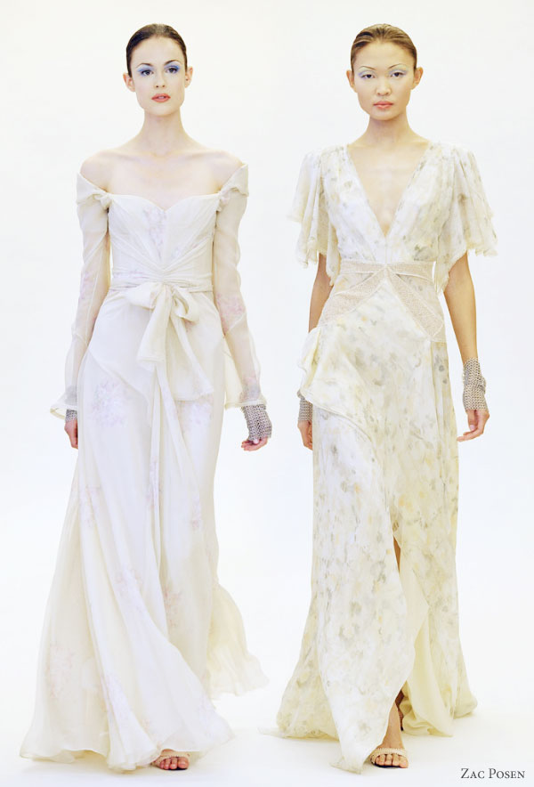 Zac Posen Resort 2011 collection -- romantic gowns suitable as a wedding dress, long sleeve off shoulder, short sleeve v-neck