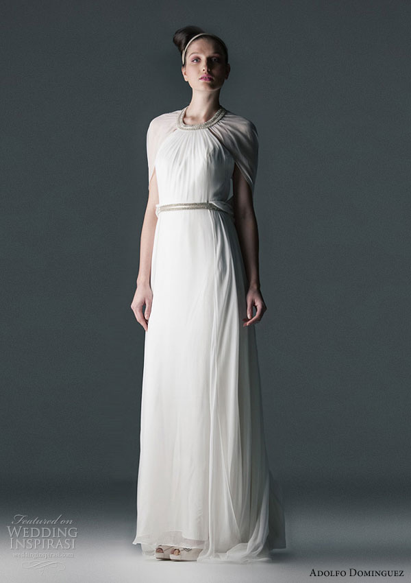 Adolfo Dominguez 2010 bridal gowns - wedding dress inspired by the 20s, in silk and chiffon detail at neck and waist strass