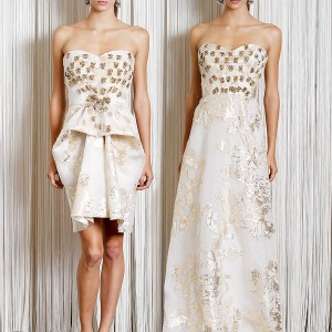 Badgley Mischka Resort Cruise 2011 collection - gold and ivory strapless dresses, short minidress and long evening gown versions