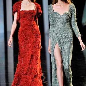 Elie Saab Couture Fall/Winter 2010/2011 - luscious deep red strapless dress with bolero jacket, long sleeve green, aquamarine, turquoise, teal sweetheart neckline gown with high slit