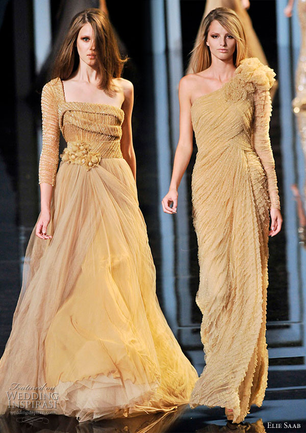 Elie Saab Couture Fall/Winter 2010/2011 mustard, yellow one-shoulder sleeve evening cocktail gowns
