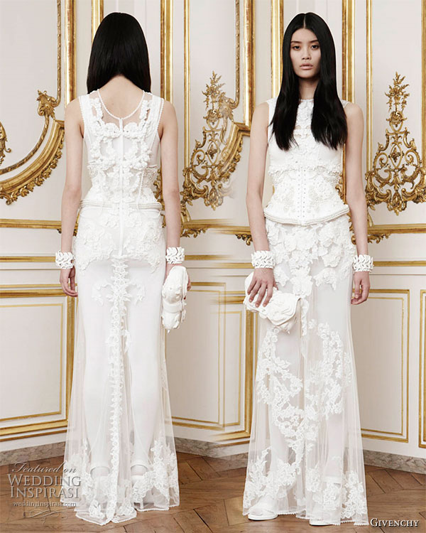 Givenchy Haute Couture 2010/2011 Fall Winter collection - Flor de   Muerto: long dress in bone white tulle embroidered with three   dimensional 'porcelain' coated lace motifs, alabaster stones, crystals   and pearls trapped in tulle worn with a bodysuit in fine ribbed knitted   silk