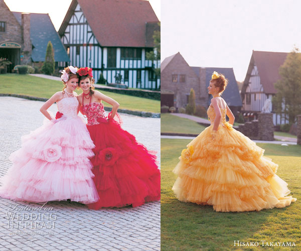 Hisako Takayama Couture Maison -- colorful wedding dresses by the  Japanese designer - pink, red, yellow-orange strapless ballgowns