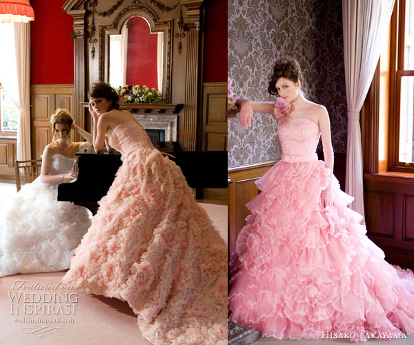 Hisako Takayama Couture Maison -- colorful wedding dresses by the  Japanese designer - pink, peach, beige white strapless ballgowns