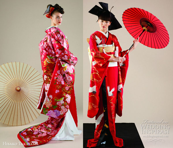 Hisako Takayama Couture Maison -- traditional wedding dress the  japanese kimono in red and white, worn with ceremonial long coat  uchikake
