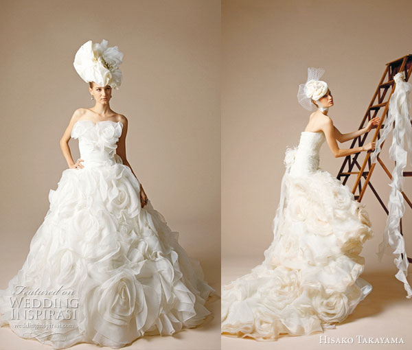 Hisako Takayama bridal gown collection -- Western style strapless ruffle wedding dress