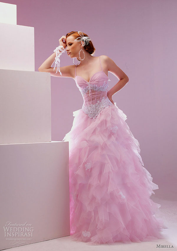 Pretty pink dresses order white box pleated bridal gown for Fuchsia dress for wedding