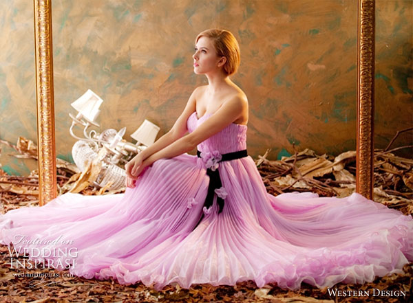 Western Design Taiwan Wedding Dress or Evening Gown in  lavender/lilac/purple/pink shade with black sash